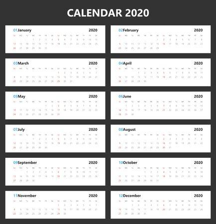 Calendar 2020 simple style. Horizontal vector design. Week Starts Sunday.