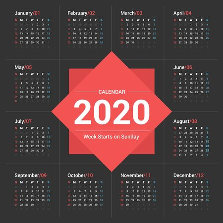 Calendar 2020 simple style on dark background. Week starts on Sunday. Stok Fotoğraf - 131681929