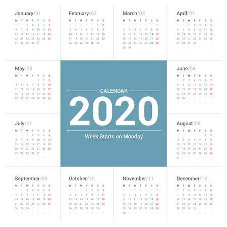 Calendar 2020 simple style on white background. Week starts on Monday.