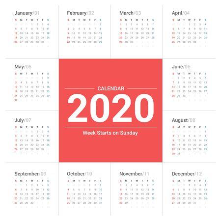 Prosty styl kalendarza 2020 na białym tle. Tydzień zaczyna się w niedzielę. Ilustracje wektorowe