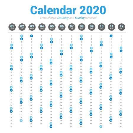 Calendar 2020 vertical style. Vector design on white background. Saturday and Sunday weekend. Stok Fotoğraf - 131681724