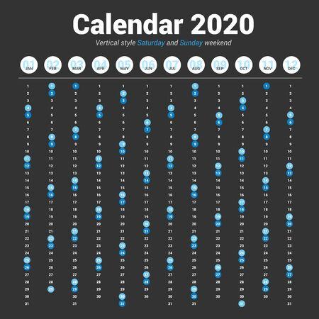 Calendar 2020 vertical style. Vector design on dark background. Saturday and Sunday weekend. Çizim