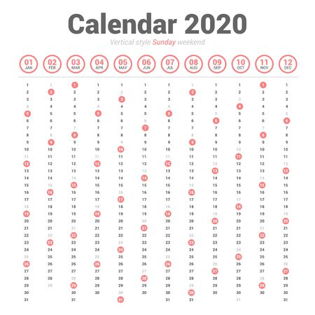 Calendar 2020 vertical style. Vector design on white background. Sunday weekend. Çizim