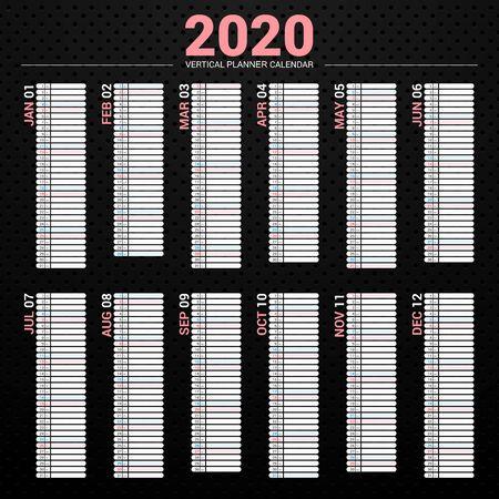 Calendar 2020 planner simple style. Vertical vector design on dark background.