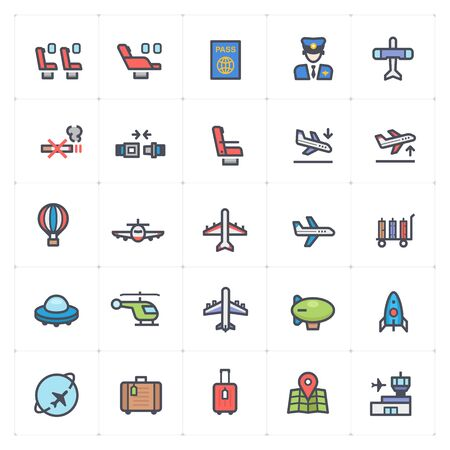 Icon set - airplane and airport full color vector illustration