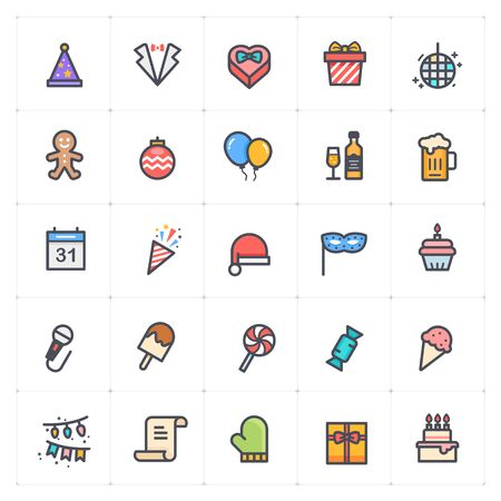 Icon set - Party full color icon style vector illustration on white background