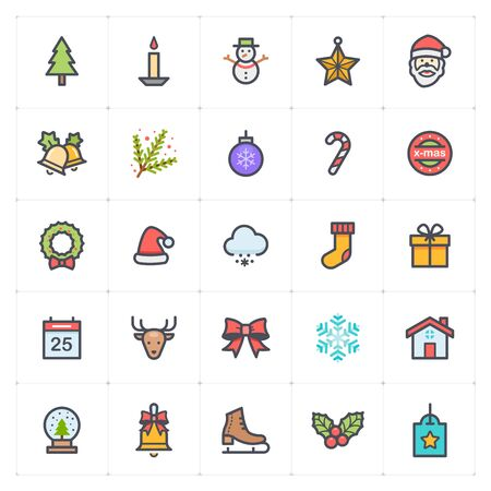 Icon set - Christmas full color icon style vector illustration on white background Vectores