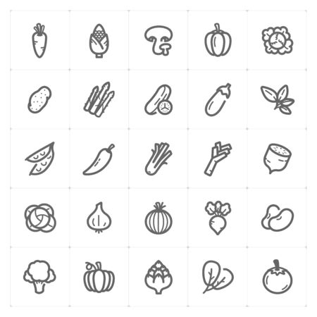 Icon set - Vegetable icon outline stroke vector illustration on white background