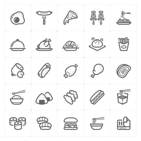 Icon set - Food icon outline stroke vector illustration on white background