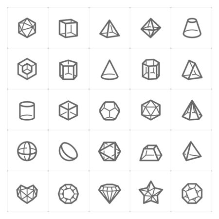 Icon set - Geometric Shapes icon outline stroke vector illustration on white background Stok Fotoğraf - 140002554