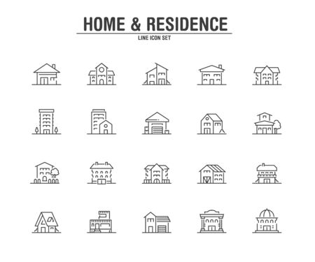 Home and Residence line icons. Vector illustration pixel perfect on white background.