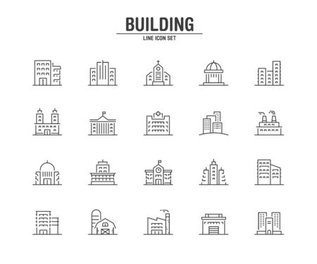Building and Real Estate line icons. Vector illustration pixel perfect on white background. Vectores
