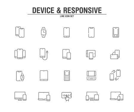 Device and responsive line icons. Vector illustration pixel perfect on white background.