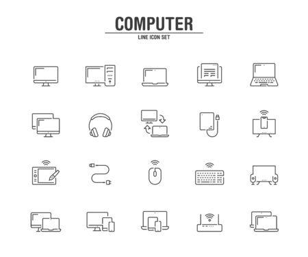 Computer and technology line icons. Vector illustration pixel perfect on white background.