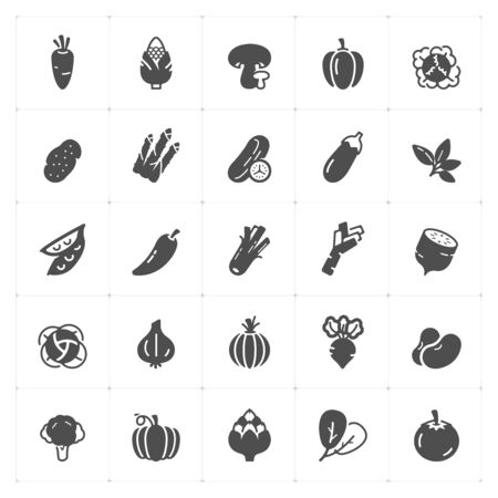 Icon set - Vegetable icon vector illustration on white background Vectores