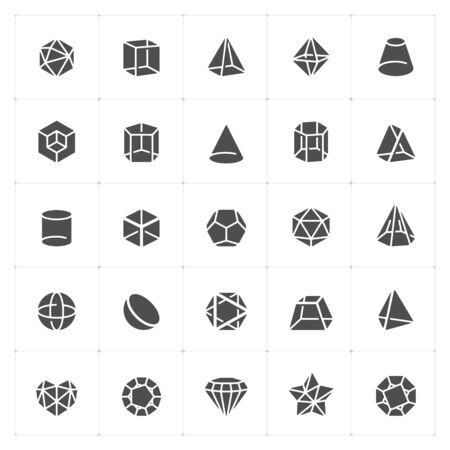 Icon set - Geometric Shapes filled icon vector illustration on white background Stok Fotoğraf - 147850614