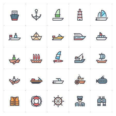 Icon set - Boat and Ship color with stroke vector illustration on white background