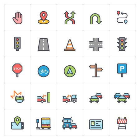 Icon set - traffic and accident color with stroke vector illustration on white background