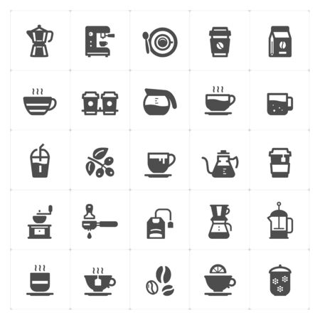 Icon set - coffee and tea filled style vector illustration on white background Stok Fotoğraf - 148355911