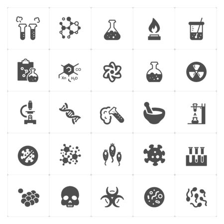 Icon set - Science and virus icon filled style vector illustration on white background Vectores