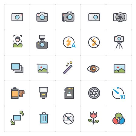 Icon set - camera and photograph outline stroke with color vector illustration on white background
