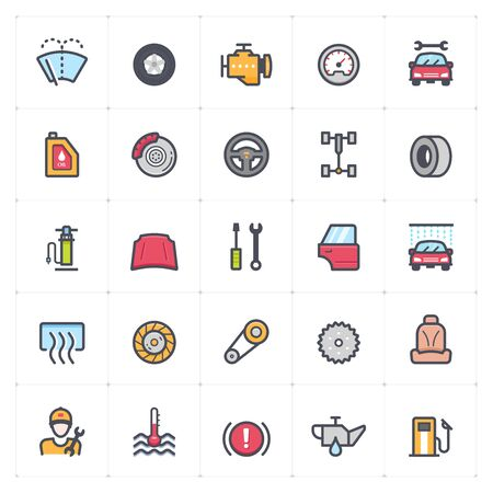 Icon set - garage and auto part outline stroke with color vector illustration on white background