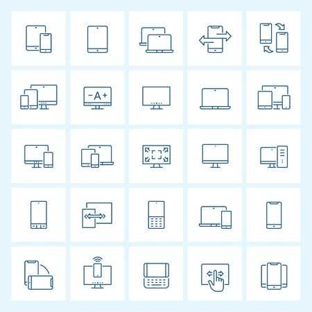 Icon set - device and responsive thin line vector illustration on white background