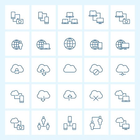Icon set - network and connectivity thin line vector illustration on white background Vectores