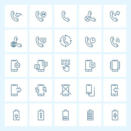 Icon set - phone and calling thin line vector illustration on white background Stok Fotoğraf - 149312194