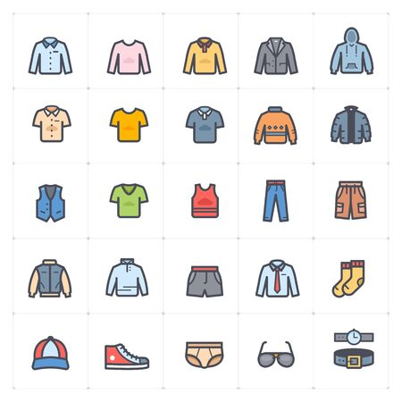 Icon set - Clothing Man outline stroke with color vector illustration on white background Vectores