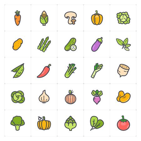 Icon set - Vegetable icon outline stroke with color vector illustration on white background