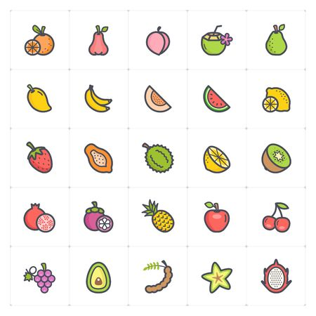 Icon set - Fruit icon outline stroke with color vector illustration on white background Vectores