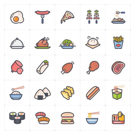 Icon set - Food icon outline stroke with color vector illustration on white background