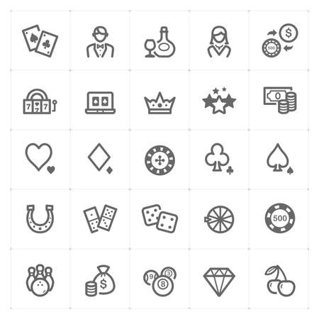 Icon set – Casino and Gambling icon outline stroke vector illustration on white background