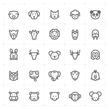 Icon set – Animal icon outline stroke vector illustration on white background