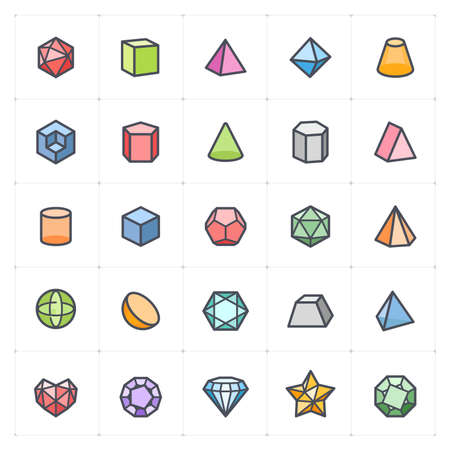 Icon set - Geometric Shapes icon color with outline stroke vector illustration on white background Vectores