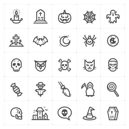 Icon set - Halloween icon outline stroke vector illustration on white background Çizim