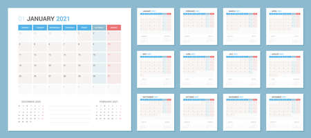 Calendar 2021 Planner Design. The week starts on Monday. High detail separated 12 months Çizim