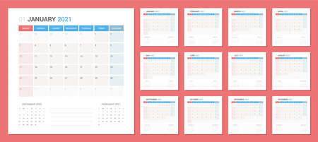 Calendar 2021 Planner Design. The week starts on Sunday. High detail separated 12 months Çizim
