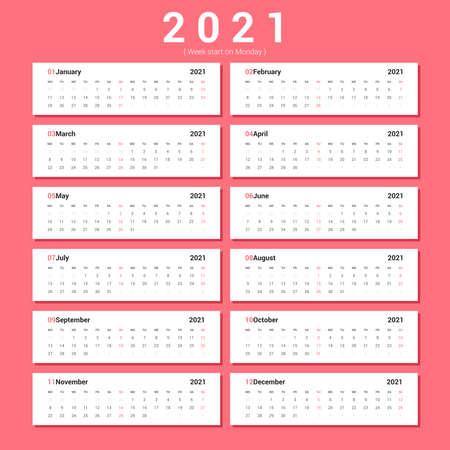 Calendar 2021 Alternative Landscape style. Week starts on Monday.