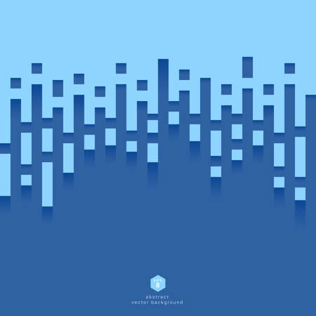 Abstract Vector background merge of 2 colors with blue tones. The ends of the lines and elements are square shapes.