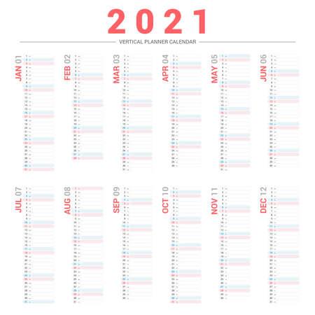 2021 Planner Calendar Vertical Design. Çizim
