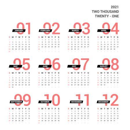 2021 Calendar. Unique Design on white background.