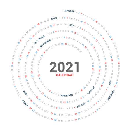 Calendar 2021 round spiral vector design on white background. Circle Calendar.