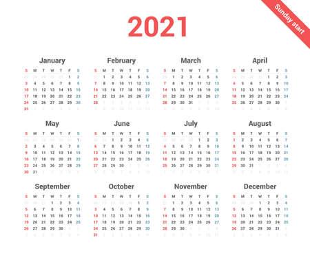 Calendar 2021 simple style week starts on Sunday.