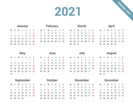 Calendar 2021 simple style week starts on Monday.