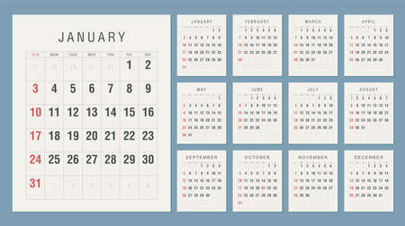 Calendar 2021 Vintage Style. Week starts on Sunday Çizim