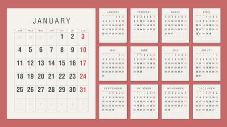 Calendar 2021 Vintage Style. Week starts on Monday Çizim
