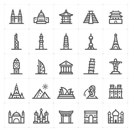 Icon set - Landmark icon outline stroke vector illustration on white background Çizim
