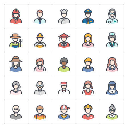 Icon set - Avatar and People icon outline stroke with color vector illustration on white background Çizim
